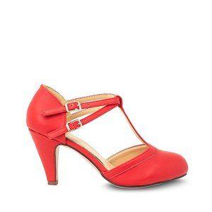 Red Pu Women's Mary Jane T-Strap Round Toe Pump
